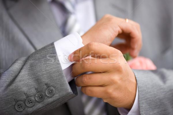 Düğme yukarı detay düğün çiçek takım elbise Stok fotoğraf © sapegina