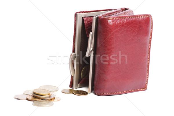 Stock fotó: üres · pénztárca · bit · apró · izolált · fehér
