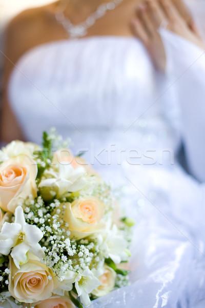 Noivas buquê noiva rosas bege Foto stock © sapegina