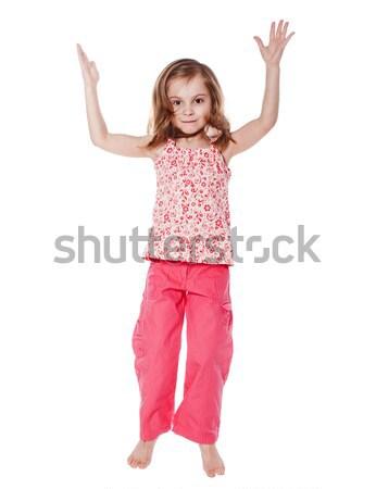 Stok fotoğraf: Küçük · kız · portre · yalıtılmış · beyaz · kız