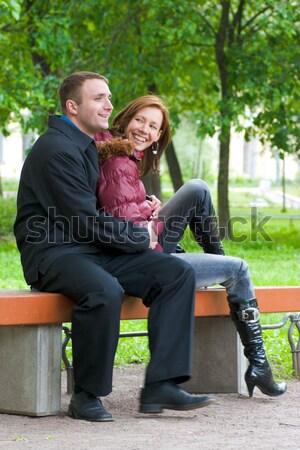 Stok fotoğraf: Mutlu · konuşma · oturma · bank · park