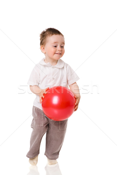 Stock fotó: Fiú · játszik · kicsi · labda · izolált · fehér