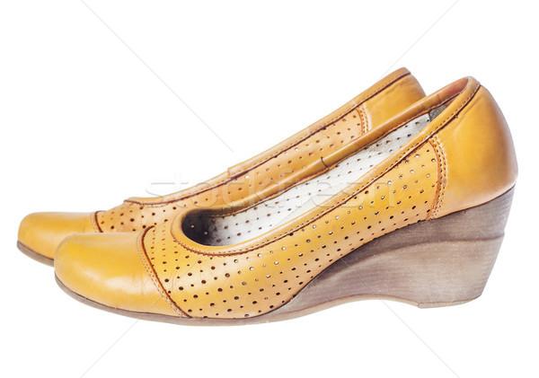 Leder wig schoenen comfortabel oranje geïsoleerd Stockfoto © sapegina