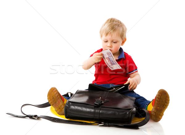Para erkek ebeveyn cüzdan yalıtılmış Stok fotoğraf © sapegina
