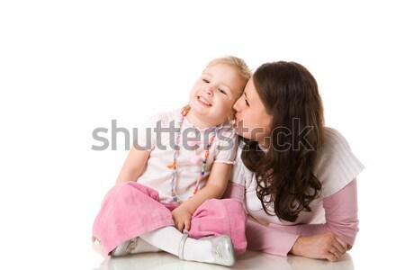 Família segredos mãe filha isolado branco Foto stock © sapegina