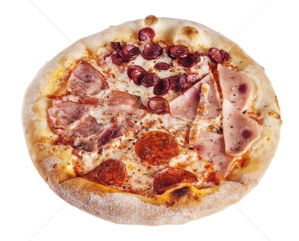 Iştah açıcı İtalyan pizza sosis tat yalıtılmış Stok fotoğraf © sapegina