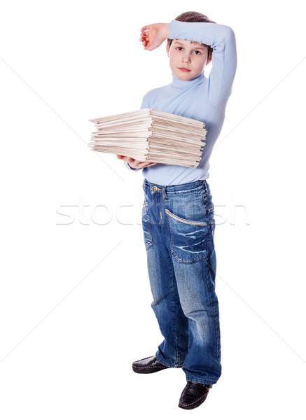 écolier papiers sérieux bouleversé isolé Photo stock © sapegina