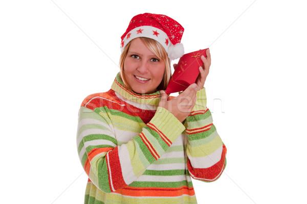 Noël surprise curieux jeune femme chapeau Photo stock © Saphira