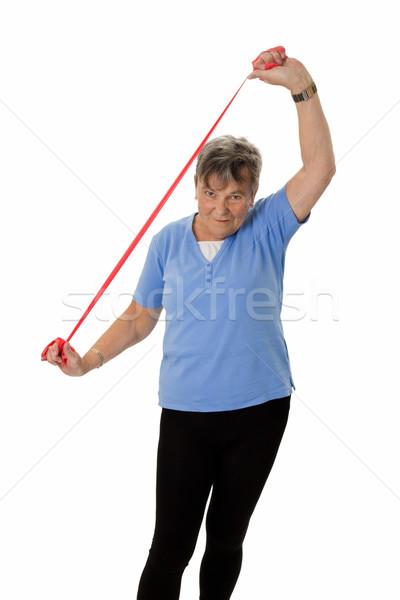 Senior vrouw elastiekje gelukkig Stockfoto © Saphira