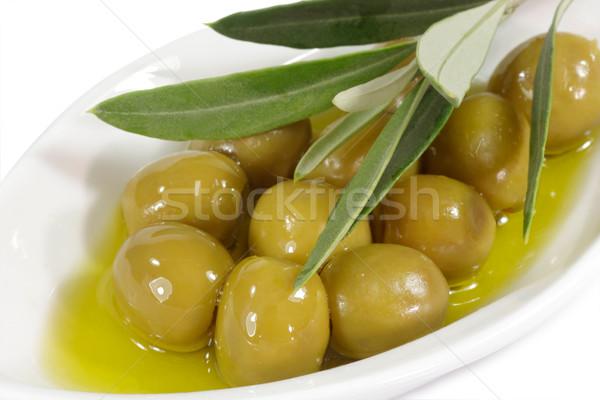 Zeytin zeytinyağı yeşil şube plaka gıda Stok fotoğraf © Saphira