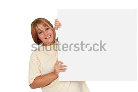 若い女性 広告 パネル 白 少女 ストックフォト © Saphira
