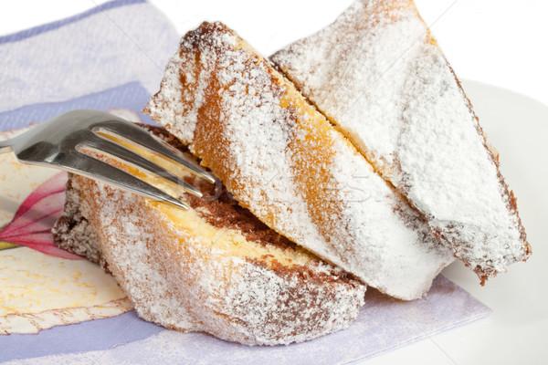 Cake plaat vork voedsel chocolade witte Stockfoto © Saphira