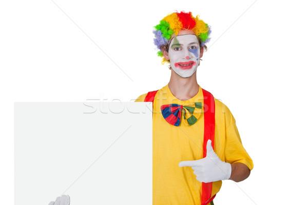 Clown witte billboard tonen leuk grappig Stockfoto © Saphira