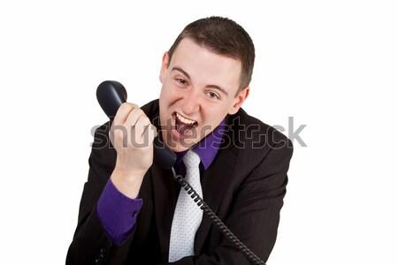 小さな ビジネスマン 悲鳴 電話 ビジネス ストックフォト © Saphira