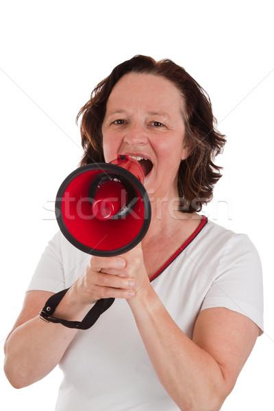 éljenez középkorú felnőtt nő kiált izolált fehér Stock fotó © Saphira