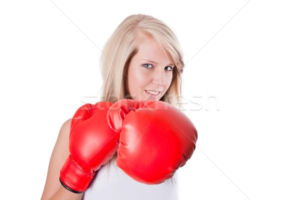 Genç kadın kırmızı boks eldivenleri yalıtılmış beyaz kız Stok fotoğraf © Saphira