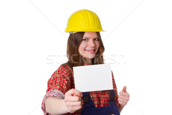 Carte jeunes blanche femme construction Photo stock © Saphira