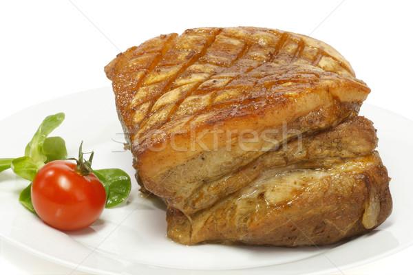 Varkensvlees knapperig plaat witte keuken diner Stockfoto © Saphira