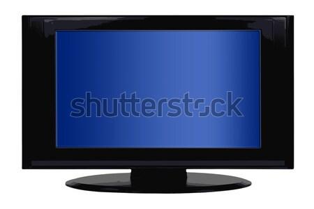Lapos kijelző fekete tv kék kirakat televízió Stock fotó © Saphira