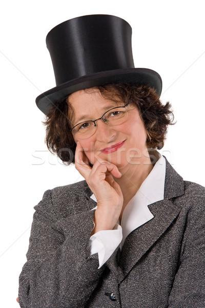 Vrouw hoed inhoud geïsoleerd witte gelukkig Stockfoto © Saphira