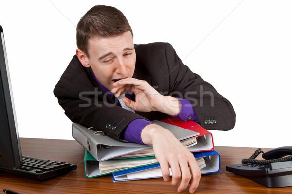疲労 小さな ビジネスマン デスクトップ オフィス ストックフォト © Saphira