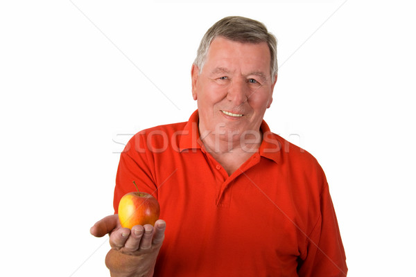 歳の男性 リンゴ 赤 シャツ 笑みを浮かべて ストックフォト © Saphira
