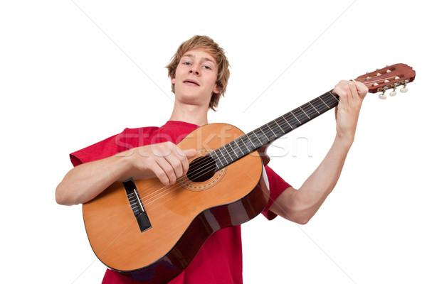 若い男 演奏 ギター 孤立した 白 ストックフォト © Saphira