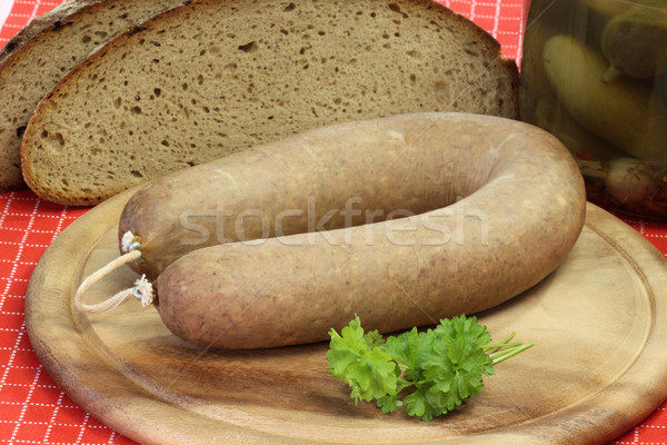 Eigengemaakt vers brood houten plaat worst Stockfoto © Saphira
