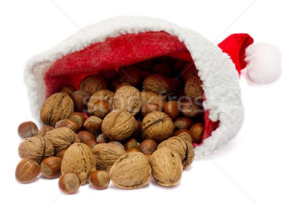 Santa hat with nuts Stock photo © Saphira
