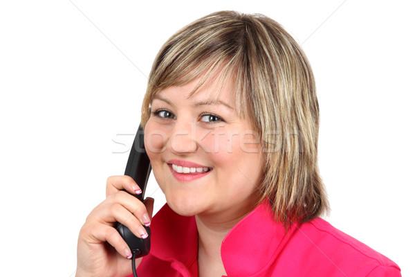 電話 若い女性 孤立した 白 手 幸せ ストックフォト © Saphira