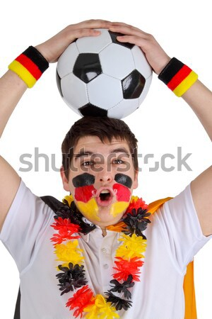 Female soccer fan with ball Stock photo © Saphira