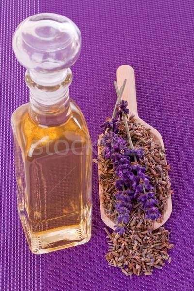 Zuiver lavendelolie fles olie gedroogd lavendel Stockfoto © Saphira