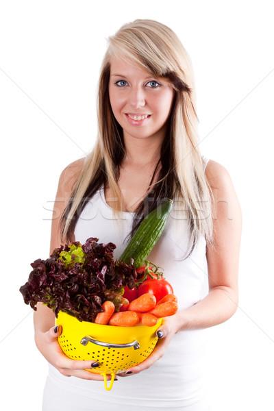 Sağlıklı sebze genç kadın taze sebze yalıtılmış Stok fotoğraf © Saphira