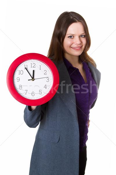 Femme horloge gris costume rouge Photo stock © Saphira
