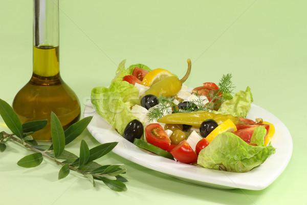 Salade huile d'olive grec feta pain alimentaire Photo stock © Saphira