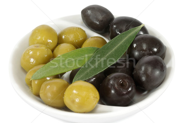 Olives feuille noir vert laisse blanche Photo stock © Saphira