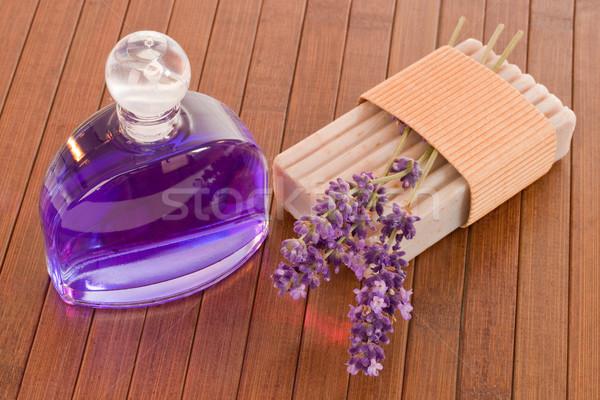 Lavande parfum bar savon bois Photo stock © Saphira