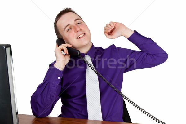 Işadamı çağrı genç büro iş ofis Stok fotoğraf © Saphira