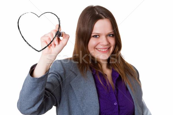 Işkadını çizim kalp genç kadın ceket boyama Stok fotoğraf © Saphira