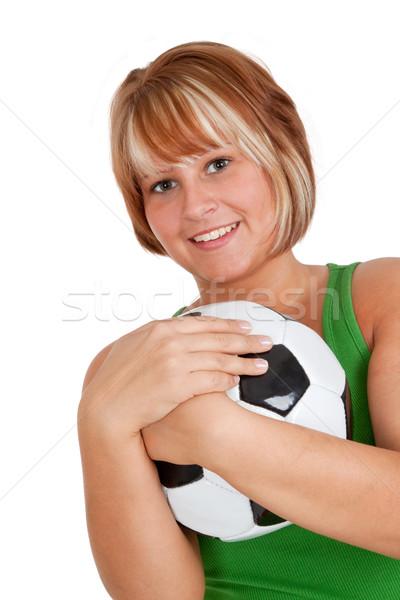 女性 サッカーボール 若い女性 スタジオ 孤立した ストックフォト © Saphira