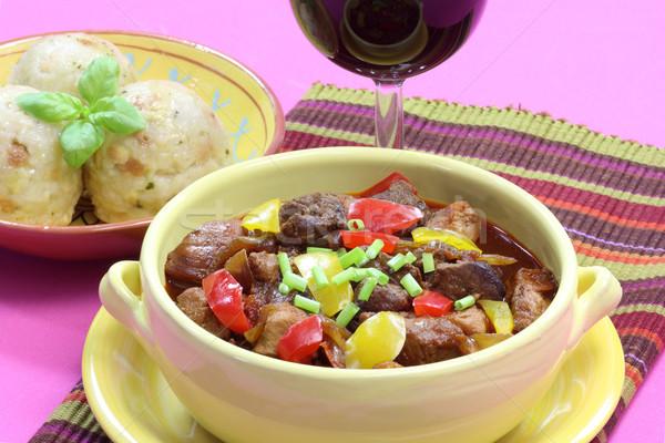 ポット 肉 ホット 唐辛子 食べる 食事 ストックフォト © Saphira