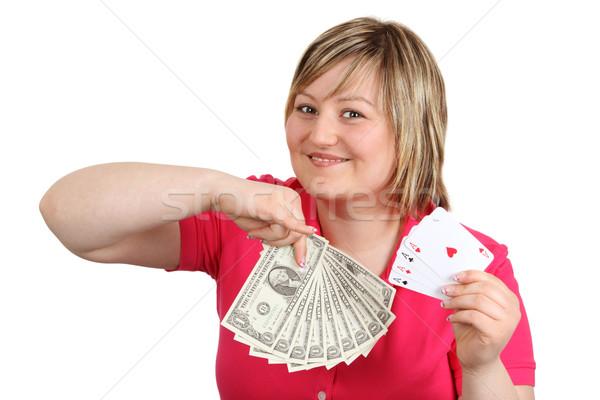 Mulher jovem cartas de jogar dólares isolado branco mão Foto stock © Saphira