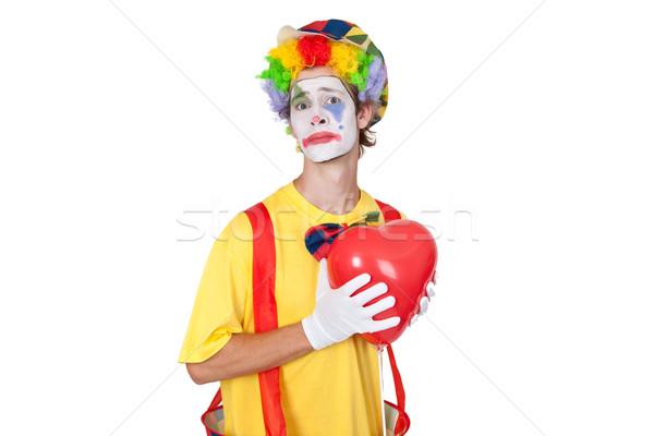 Dor amor moço palhaço vermelho balão Foto stock © Saphira