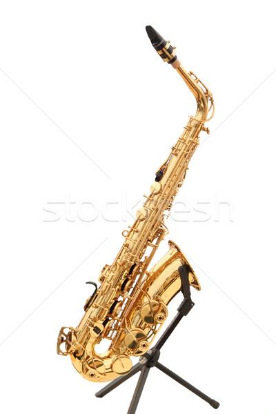 サクソフォン ラック 孤立した 白 金属 ジャズ ストックフォト © Saphira