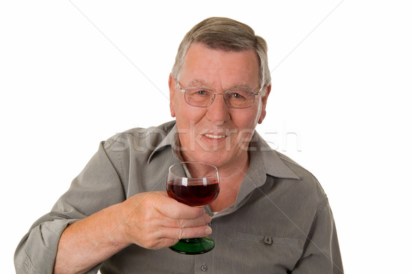 Old man drinking red wine Stock photo © Saphira