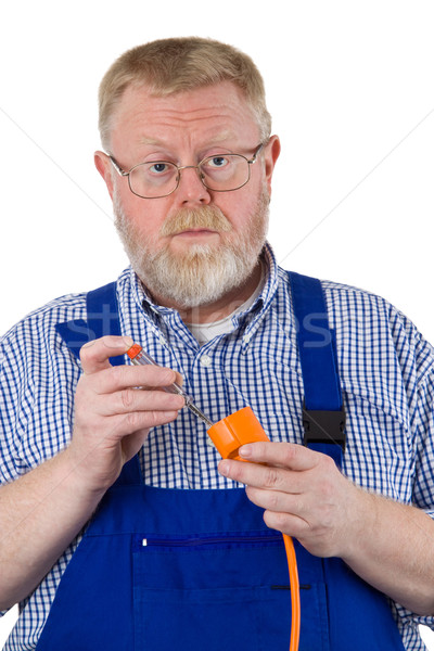 Electrician with circuit tester Stock photo © Saphira