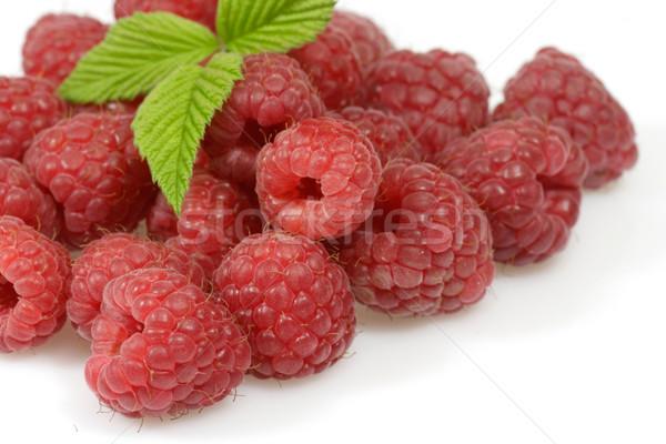 Ahududu taze gıda yaprak kırmızı meyve Stok fotoğraf © Saphira