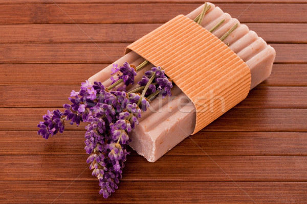 Lavendel zeep bloesems bar vers houten Stockfoto © Saphira