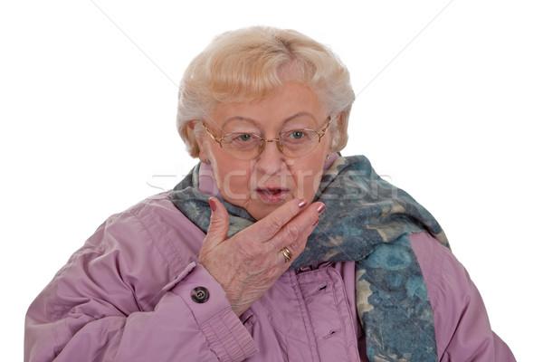 Köhögés idős nő köhögés izolált fehér nagymama Stock fotó © Saphira