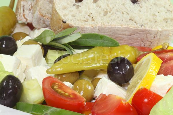 Saláta feta olajbogyók görög kenyér olívaolaj Stock fotó © Saphira